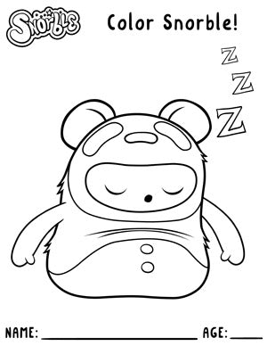 """Photo contains a black and white drawing of a small character with stubby arms and a tubular body. The character is wearing a panda costume and sleeping. Above the character, there is text that says """"Snorble"""" and """"Color Snorble!"""". Below the character, there is text that says """"Name:; with a thin black line and then text that says """"Age:"""" with another thin black line."""