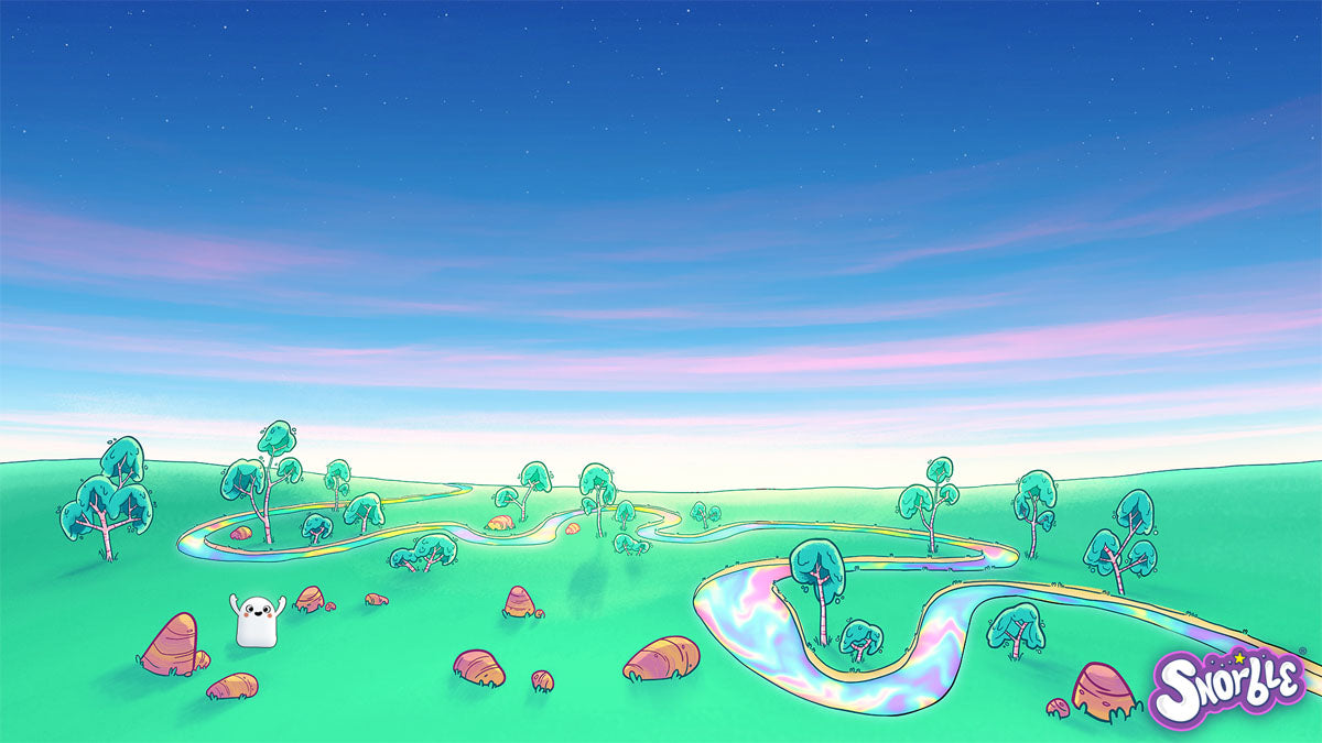 Image contains an illustration of the Dreamy Savanna, a place in Lullaboo that contains grassy spaces, trees, and the Rainbow River.