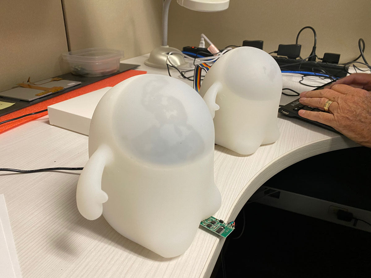 Image contains a photo of two Snorbles undergoing testing at an engineering lab.