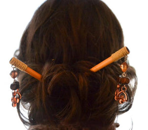 Light Amber Hearts Hair Stick