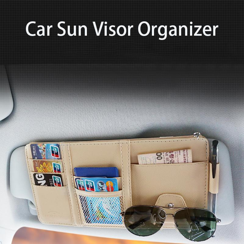Car Sun Visor Storage Bag [Premium Leather]
