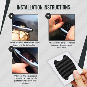 Car Door Handle Cup Protector 4PCS SET [CARBON FIBER]