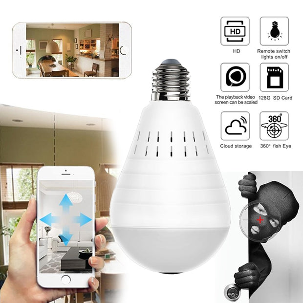 960P Wireless IP Camera Bulb Light Lamp 360 degree Fish Eye Panoramic Home Camera 1.3MP Night Vision Security P2P WiFi Camera