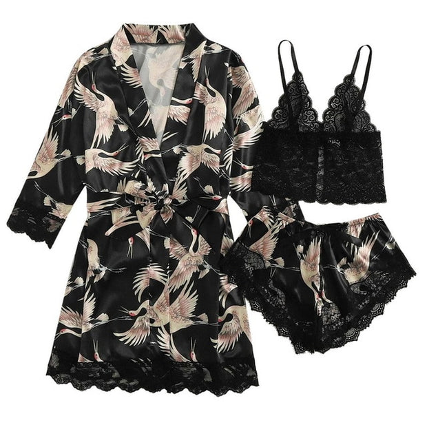 3pc Pijama Women Pajamas Sets Sexy Lace Bralette Shorts Bathrobe Nightwear Sleepwear Suits Satin Pajamas For Women Pijama Mujer