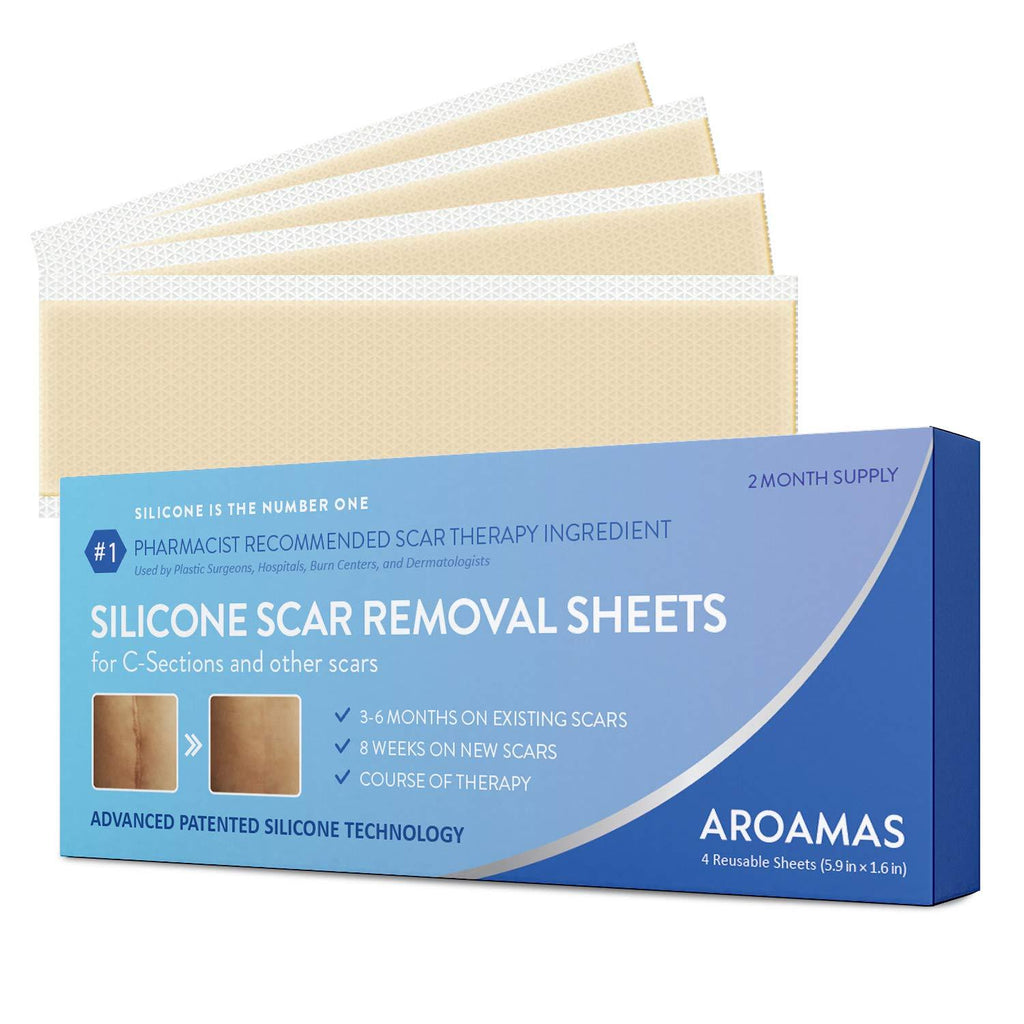 Aroamas Professional Silicone C-Section Scar Removal Sheets, Soft Adhesive Fabric Strips