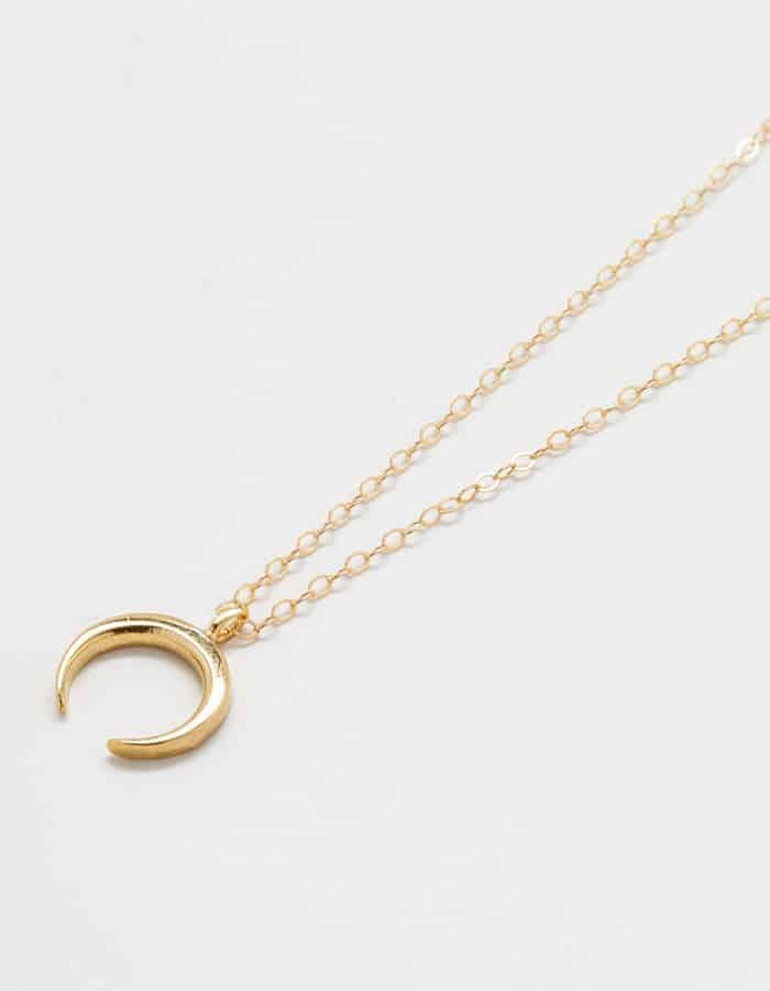 Gold Crescent Moon Necklace Necklace Admiral Row