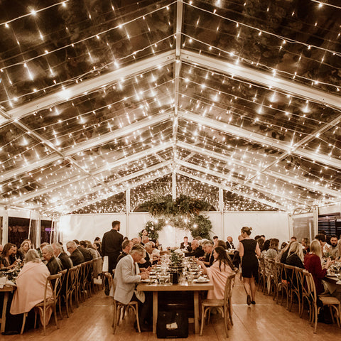 Clear marquee event dining and catering photo by Possum Creek Studios