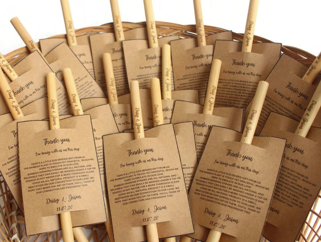 personalised bamboo straw wedding favour