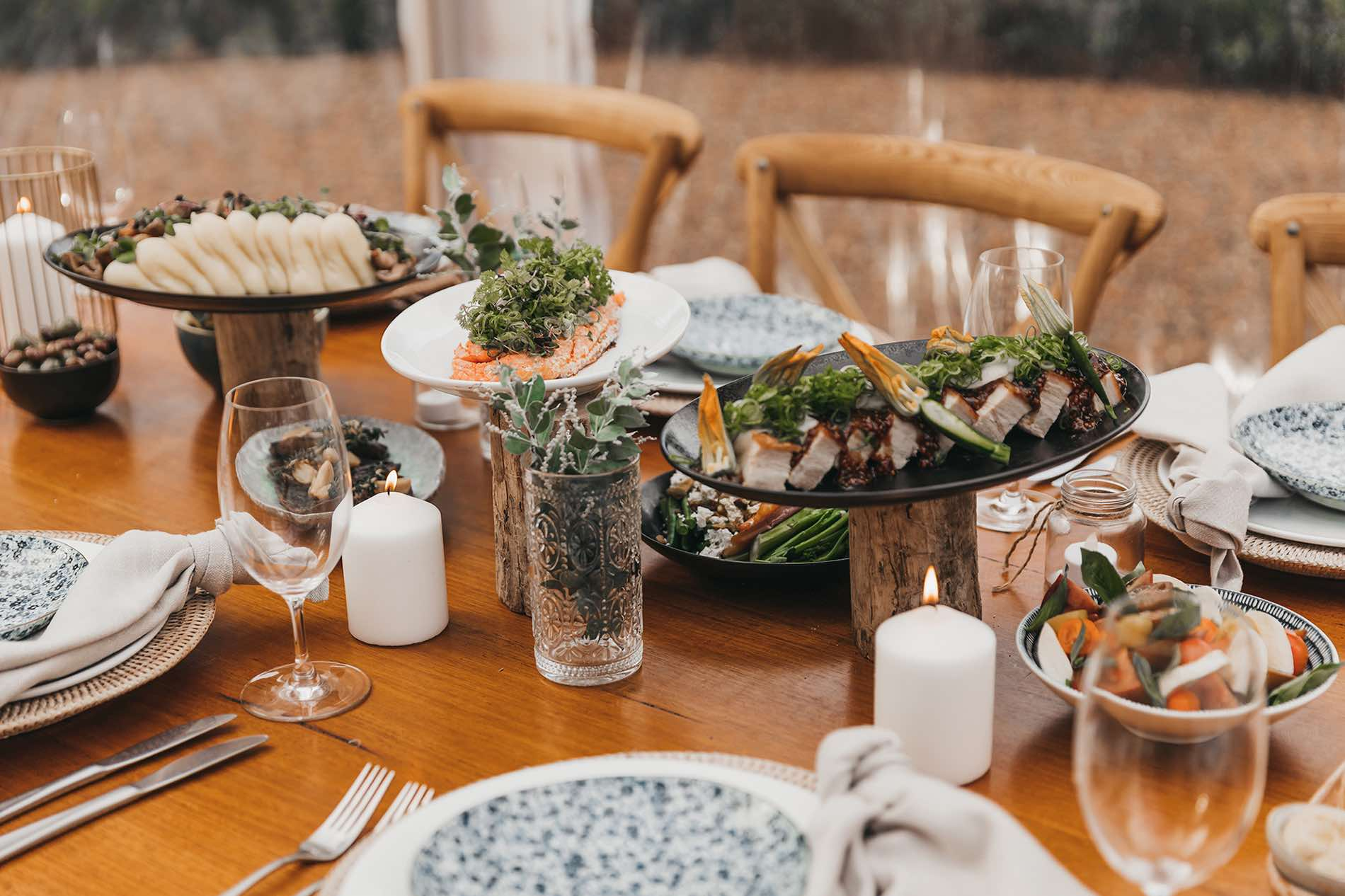 Wedding catering at The Bower Estate Gold Coast wedding venue with delicious canapes, feasting tables, alternate drop and all inclusive packages