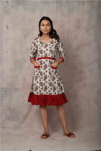 Brown Dabu Dress - GleamBerry