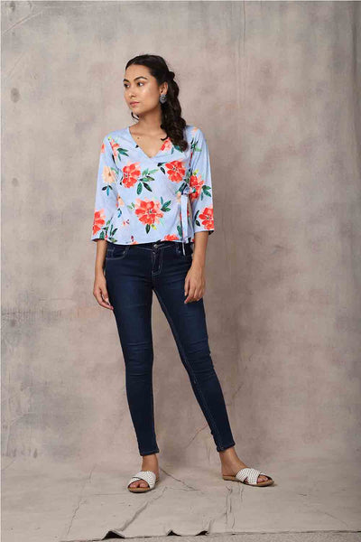 Blue Floral Top - GleamBerry