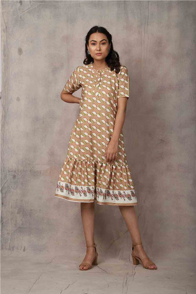 Brown Floral Printed Crepe Dress - GleamBerry
