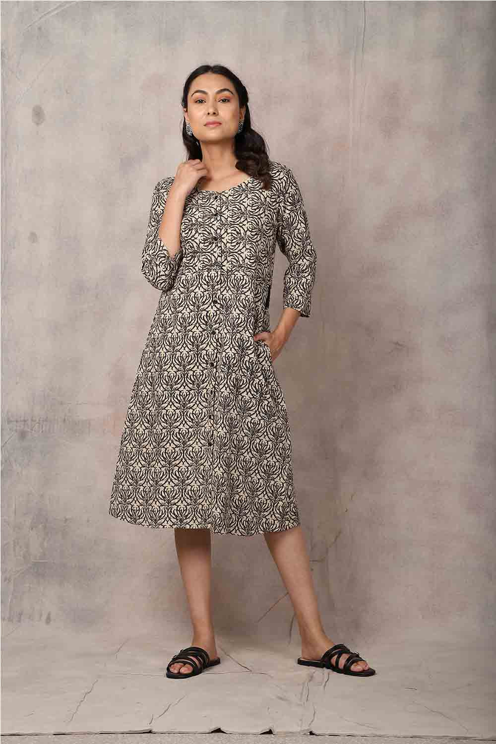 Brown Kantha Dress - GleamBerry