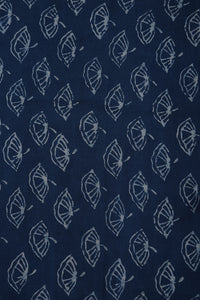 Indigo Dabu Hand Block Mushroom Print Cotton Fabric - GleamBerry