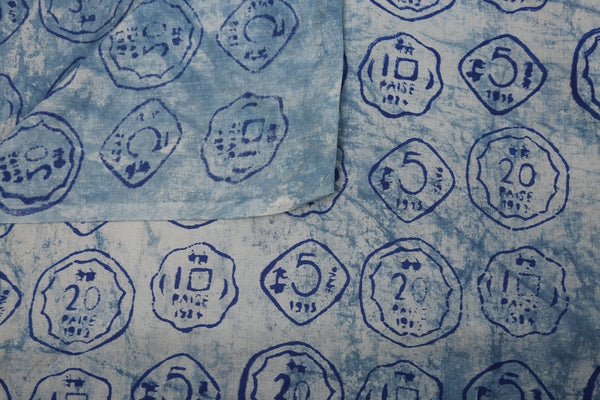 Blue Coins Block Print Cotton Fabric - GleamBerry