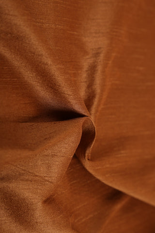 Rust Colour Slub Silk Fabric - GleamBerry