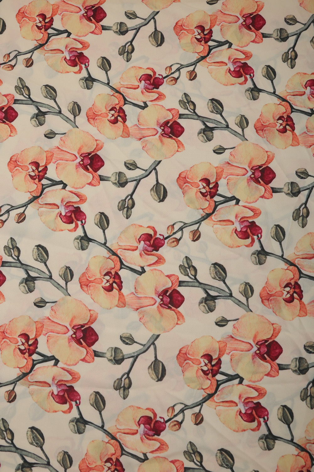 Floral Printed Crepe Fabric - GleamBerry