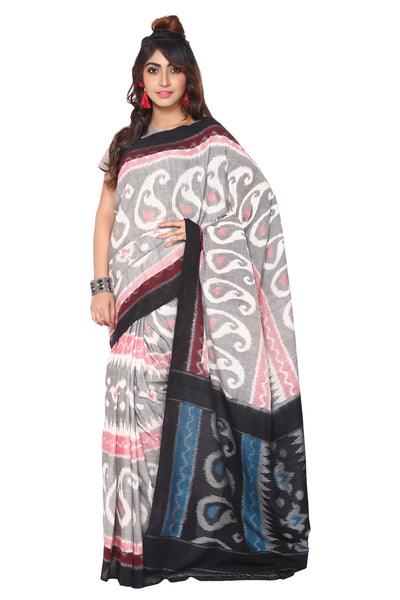 Grey Double Ikkat Saree (Paisely) - GleamBerry