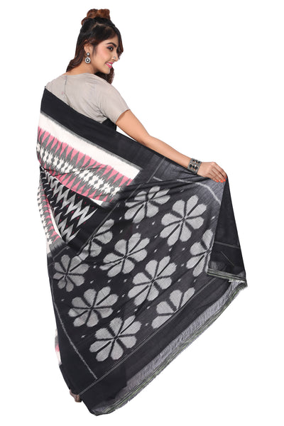 Grey Double Ikkat Saree - GleamBerry