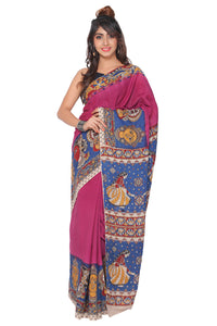 Dark Purple Kalamkari Cotton Silk Saree - GleamBerry