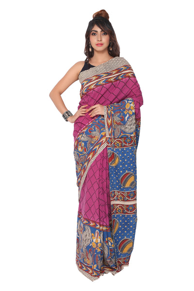 Purple Kalamkari Cotton Saree - GleamBerry