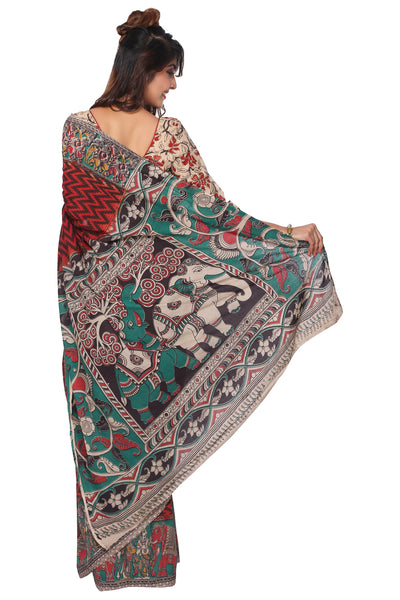 Maroon Kalamkari Cotton Saree - GleamBerry