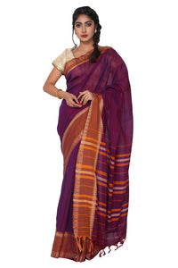 Dark Purple Narayanpet Cotton Silk Saree - GleamBerry