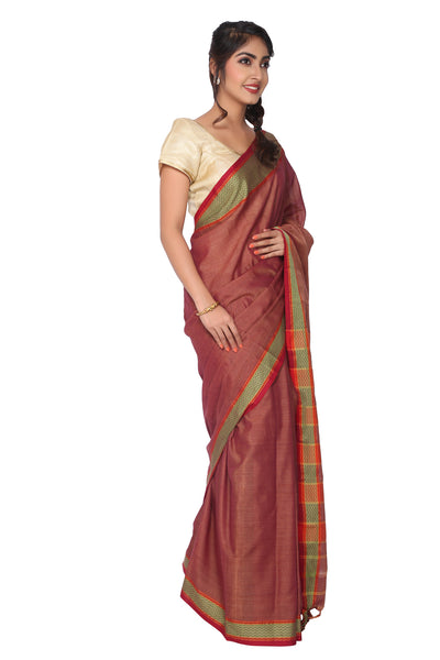 Brown Narayanpet Cotton Silk Saree - GleamBerry