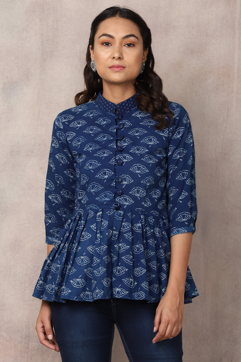 Indigo Dabu Hand Block Print Cotton Top - GleamBerry