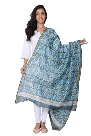 Multicolour Hand Block Chanderi Silk Dupatta - GleamBerry