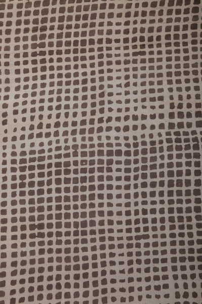 Greyish Block Print Cotton Fabric - GleamBerry