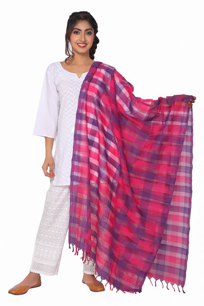 Purple and Pink Mangalagiri Dupatta - GleamBerry
