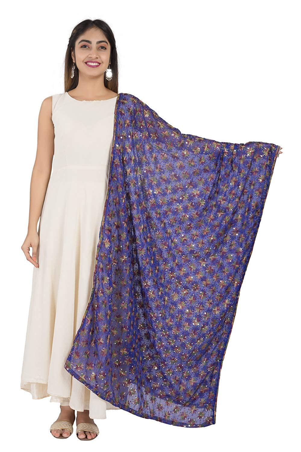 Persian Blue Phulkari Embroidered Chiffon Dupatta - GleamBerry