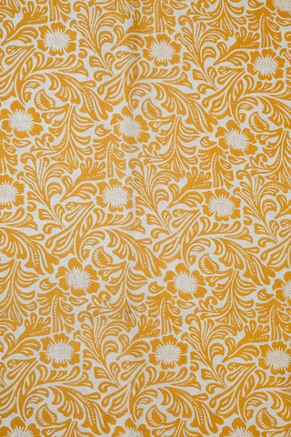 Yellow Sanganeri Hand Block Print Cotton Fabric