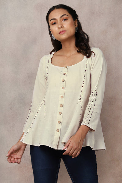 White Slub Kantha Top - GleamBerry