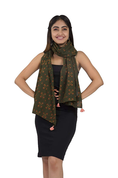 Green Dabu Hand Block Print Cotton Stole - GleamBerry