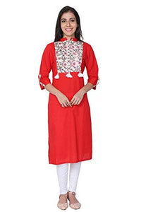 Red Sanganeri Hand Bolck Cotton Kurti - GleamBerry