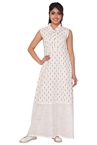 White Ikat Gown - GleamBerry