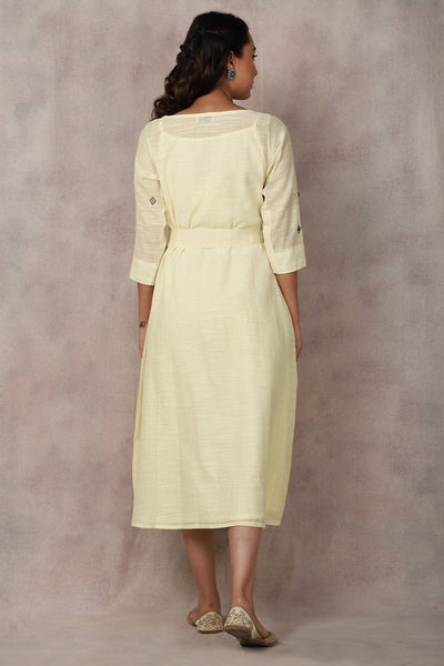 White Slub Dress - GleamBerry