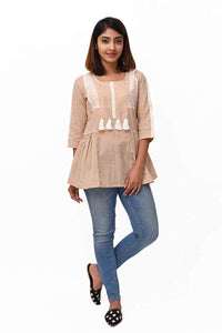 Beige Mangalgiri Cotton Tunic
