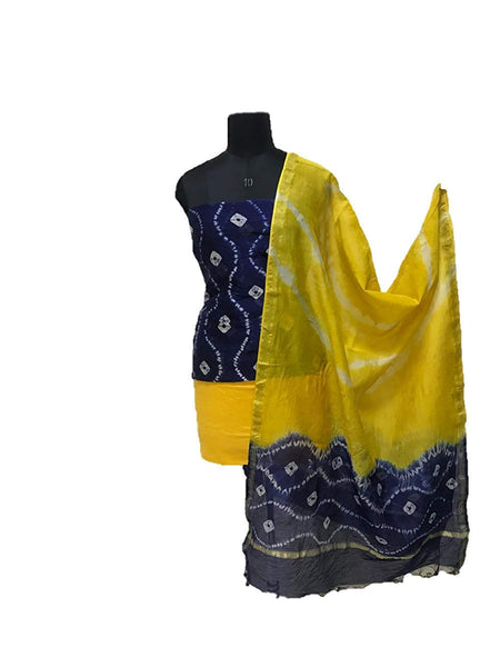 Blue and Yellow Shibori Chanderi Dress Material Set