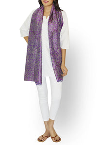 Pearly Purple Block Print Kantha Stitch Handloom Pure Silk Stole - GleamBerry