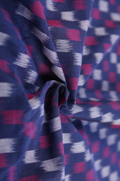 Blue Magenta Mercerised Cotton Ikat Fabric - GleamBerry