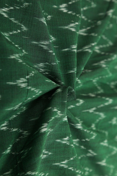 Green Mercerised Cotton Ikat Pure Cotton Fabric - GleamBerry