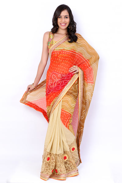 Multicolour Bandhani Georgette Saree - GleamBerry