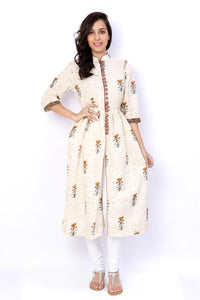 White Sanganeri Block Print Cotton Long Kurti - GleamBerry