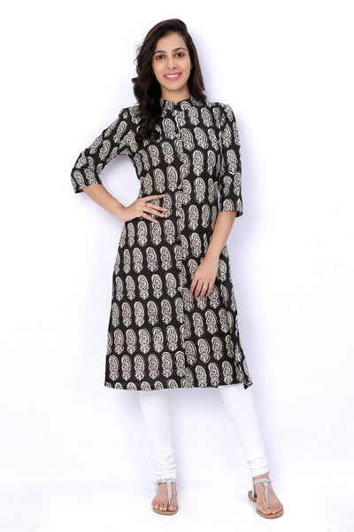 Black and White Block Printed Cotton Kurti