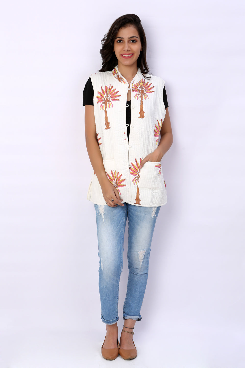 Hand Block Printed Cotton Sleevless Quilted Jacket - GleamBerry