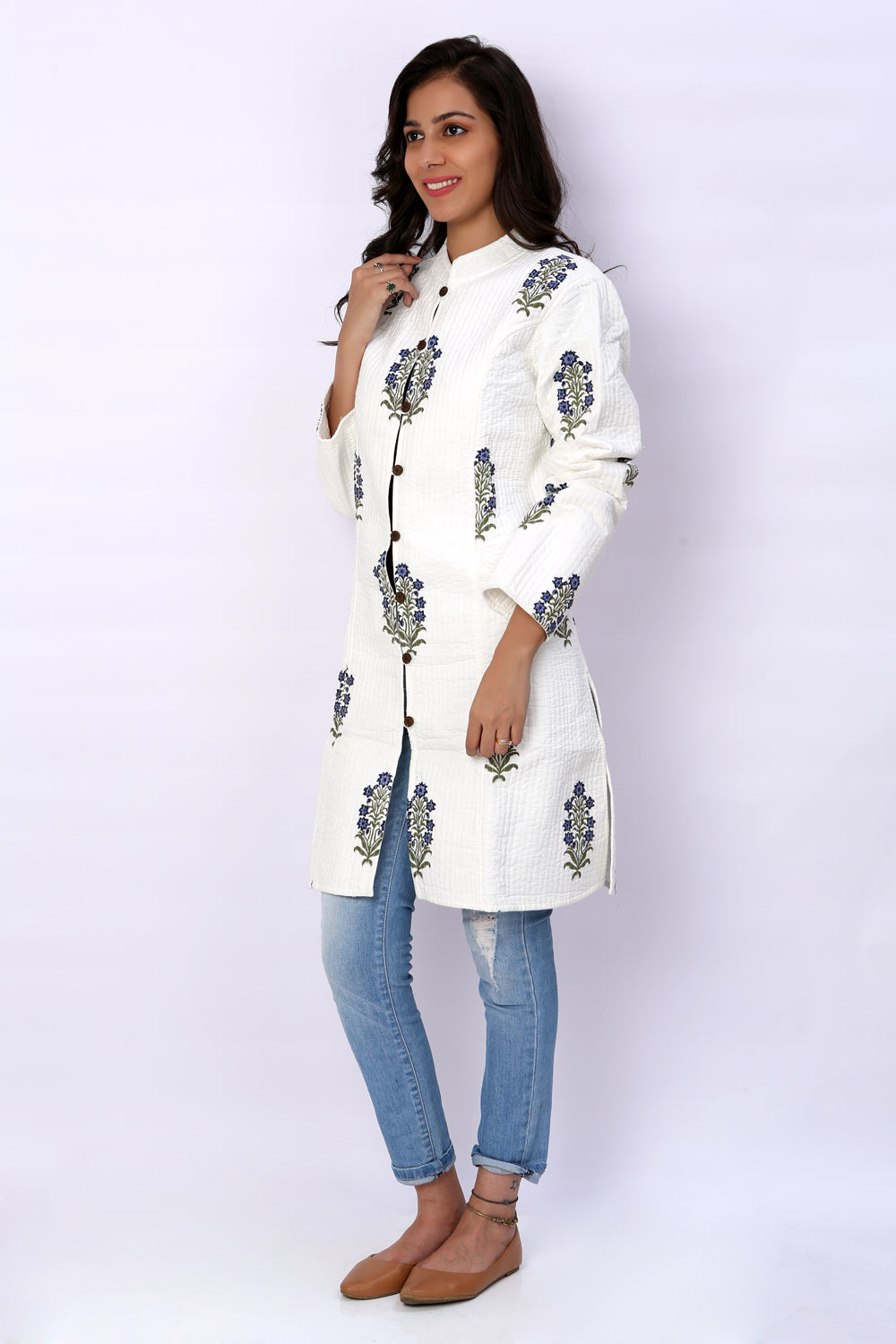White Hand Block Printed Quilted Reversible Long Jacket - GleamBerry