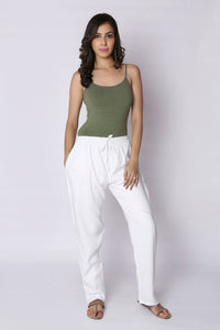 White Plain Rayon Elasticated Pant